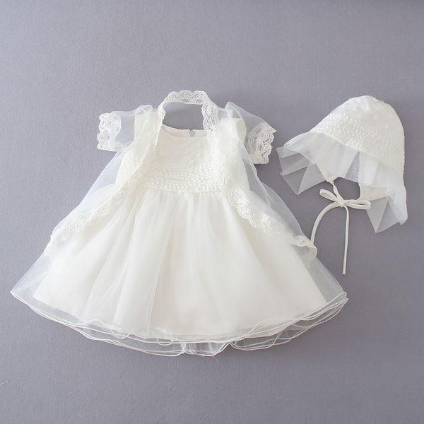 alta moda incomparable precio loco Compre 2016 Sumemr Baby Dress Party Dress Lace Flower Beige Vestido De  Bautismo Primera Comunión Vestidos Princess Tutu Dress + Coat + Cap 3 12M A  ...
