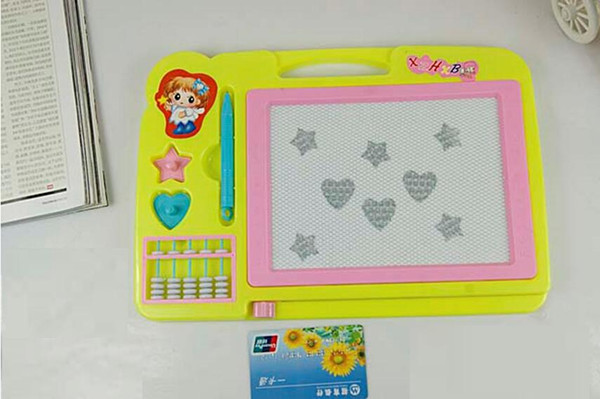 top popular Children color magnetic sketchpad. Baby with abacus oversized puzzle write Sketchpad. Graffiti Sketchpad children Magnetic WordPad 2019