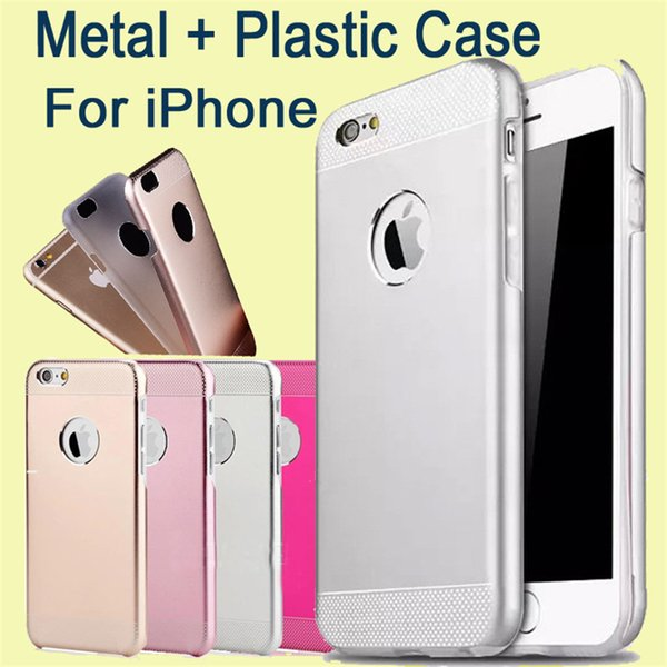 For Iphone Motomo Hybrid Case Brushed Aluminum Metal + Plastic Double Layer Skin Cover For Iphone 6 Plus,Samsung S6 DHL Free SCA141