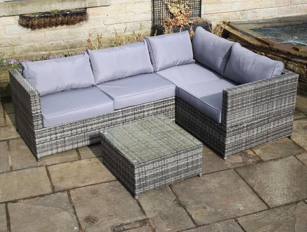 Mobili Da Giardino In Rattan : Acquista rattan outdoor 4 sedile angolo divano patio mobili da