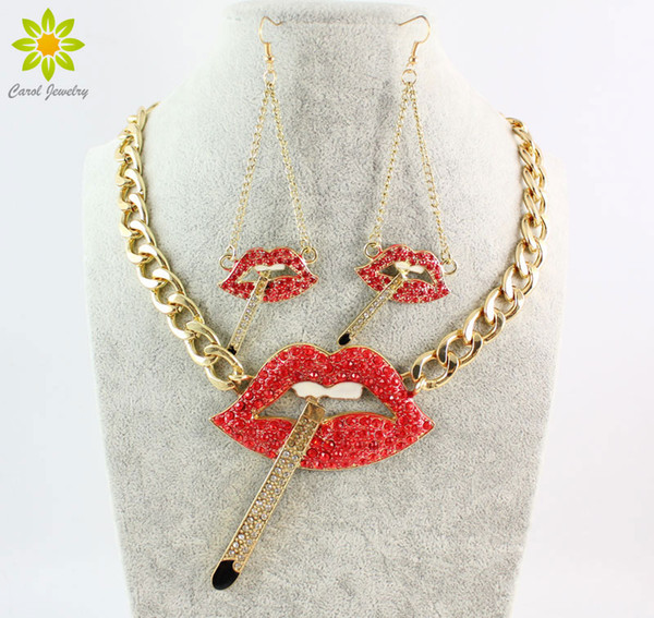 New Arrival Fashion Sexy Smoking Cigarette Red Lip Mouth Full Crystal Necklace Earrings Sets For Women
