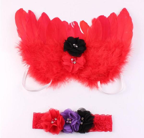 2pcs / set infantile fascia per capelli in pizzo + angelo piuma ala neonato neonate fotografia puntelli avvolge la testa accessori per capelli ornamento rosa rosso