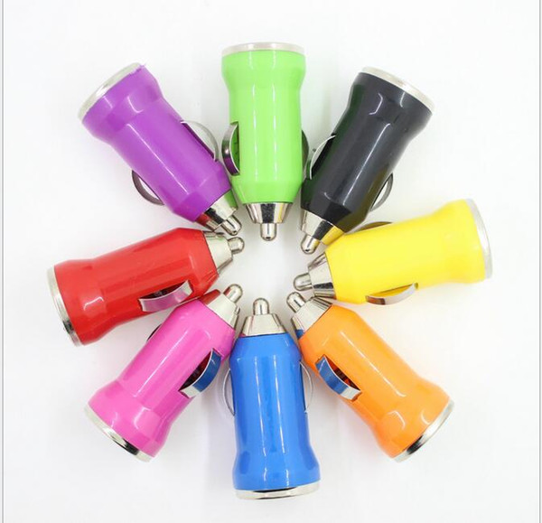 Mini USB Car Charger Universal USB Adapter Colorful Car Charger for all phones jump starter power bank DHL free shipping