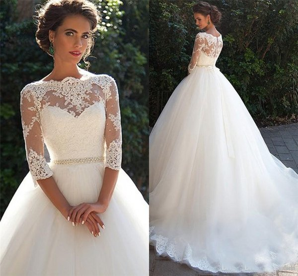 top popular Bateau With Half Sleeves Pearls White Tulle Wedding Ball Gowns Cheap Bridal Dresses Modest Vintage Lace Millanova Wedding Dresses 2021