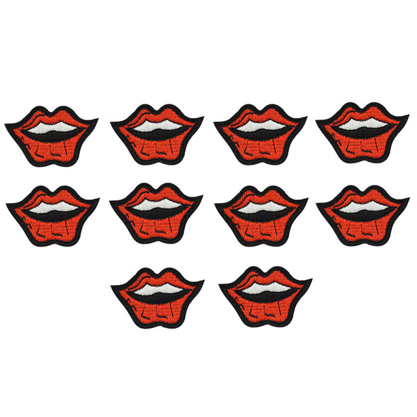 10PCS smile lips embroidery patches for clothing iron-on patch applique iron on fashion patch sewing accessories badge stickers on clothes
