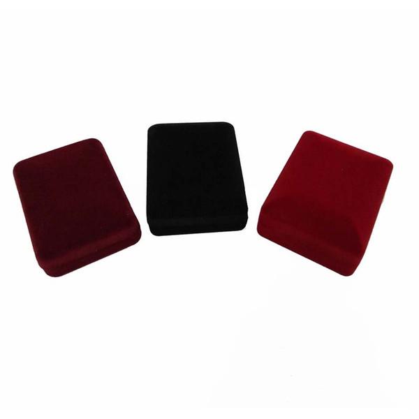 Großhandel 20 Stücke Rechteck Schmuck Vitrine 3 Farben Samt Ohrstecker Lagerung Geschenkbox Anhänger Halskette Veranstalter Halter Geschenkbox