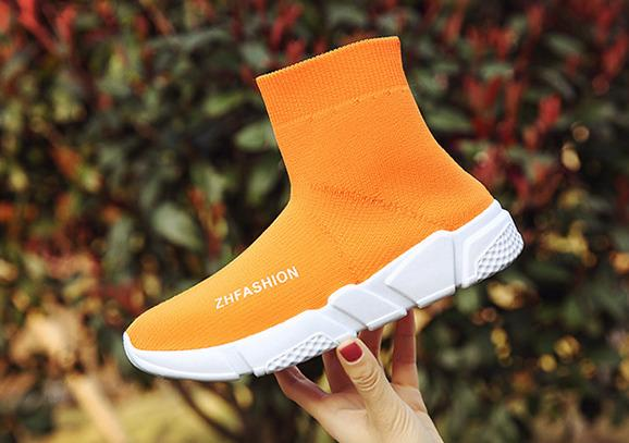 Breathable socks shoes woman casual shoes black fashion designer elasticity high top thick heel wedge platform shoes female
