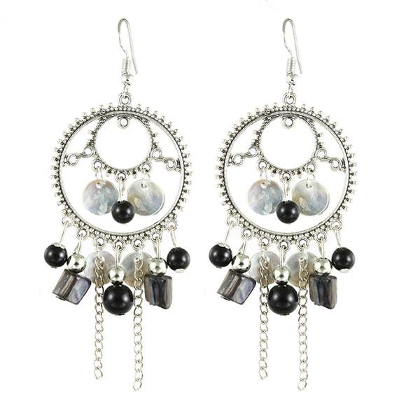 Newly national wind retro round shell earrings tassels shell earrings Chinese style traditional earring elegance beautiful earrings