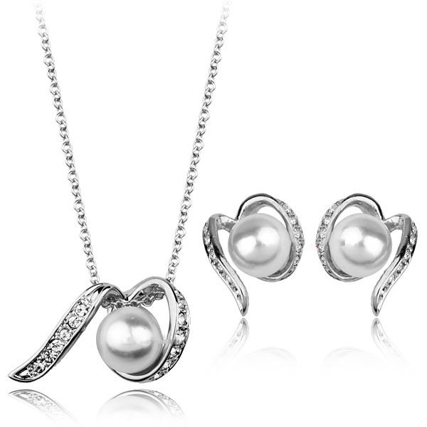 Fashion 18K Gold/Imitation Rhodium Plated Czech Rhinestone Simulated Pearl Necklace & Earrings Bride's Wedding Jewelry Sets Gifts