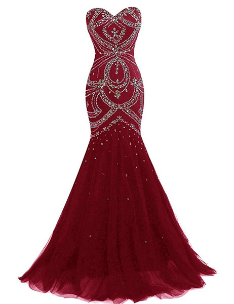 Luxury Burgundy Prom Dresses Long Mermaid Evening Gowns With Crystal Sweetheart Sleeveless Formal Women Special Occasion Party Dress