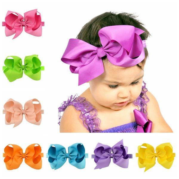 20Pcs /Lot 6Inch Large Kids Girl Plain Ribbon Bow Headband With Elastic Hair Accessories Bowknot Headwear headdress