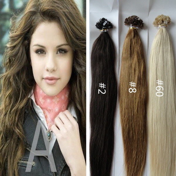 2016 Hot Natural Brazilian Remi Keratin Flat Tip Hair Extensions