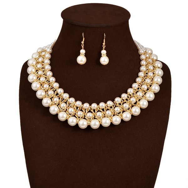 Necklace and Earrings Imitation Pearl Beaded Crystal Leaf Golden Plated Chains Necklace Earrings Wedding Jewelry Set For Lady 2pcs/set