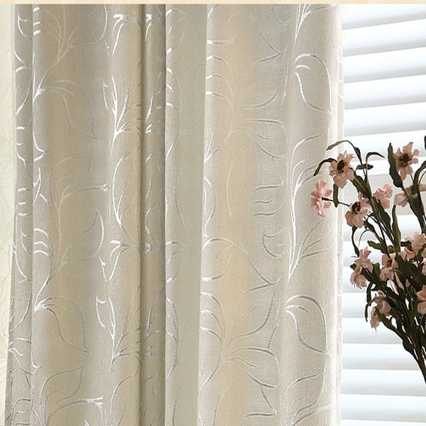 2019 Luxury Blackout Curtain Tulle Chenille Jacquard Silver Leaves Curtains  For Living Room Bedroom Modern Style Window Treatment From Bigmum, $26.03  ...