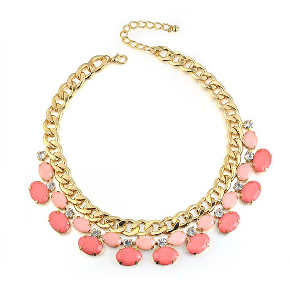 ROXI Necklace Pendant For Women Gold Color Luxury Red Gem Wedding Necklace Choker For Party Fashion Jewelry