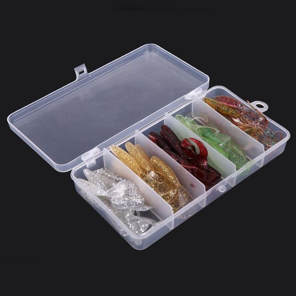 New 50Pcs Simulation Pesca Worms Fishing Lures Bionic Single Tail Soft Baits Fishy Smell with Plastic Fishing Tackle Box