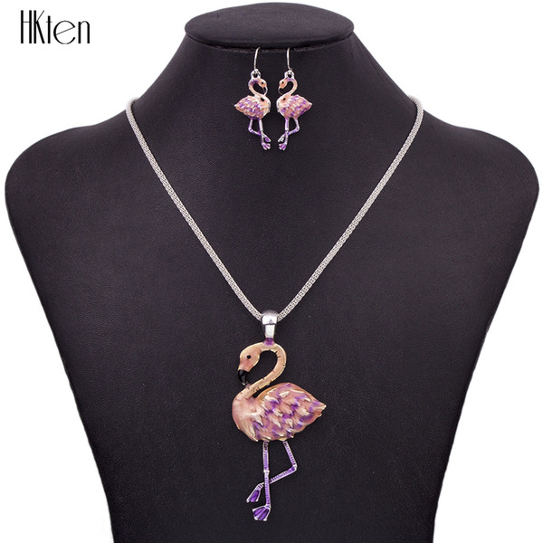 MS1504433 Set di gioielli in elefante moda di alta qualità placcato argento multicolore pendente collana di fenicotteri orecchini orecchino girocollo