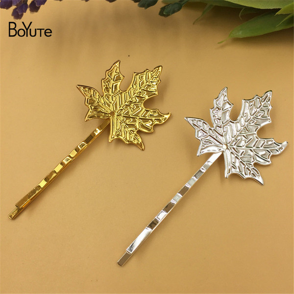 BoYuTe 20Pcs 32MM 2 Color Maple Leaf Hair Pins Metal Iron Diy Hair Jewelry Parts & Accessories