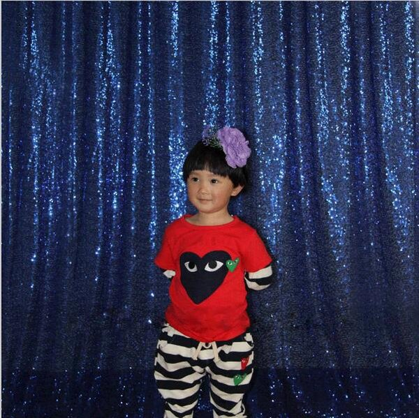 best selling 4x6ft Navy Blue Sequin Photo Booth Backdrop Wedding Photobooth Props Shimmer Curtain