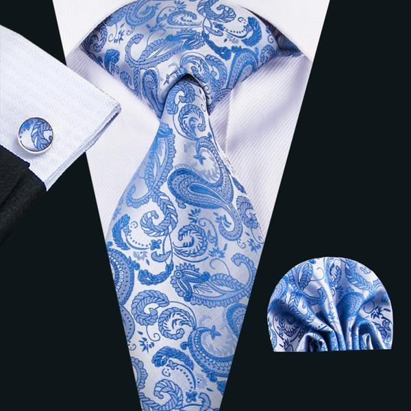 Azul Paisley corbata venta al por mayor barato de seda corbata pañuelo conjunto para regalo de boda Parte BusinessN-1618