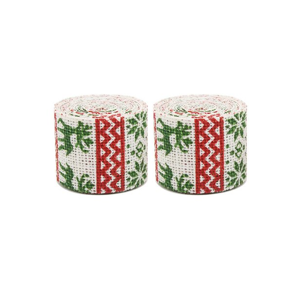 40PCS Sika Deer Flower Tree Printing Natural Vintage Jute Hessian Burlap Ribbon Rustic Wedding Chair Belt DIY Christmas Party Decor Supplies