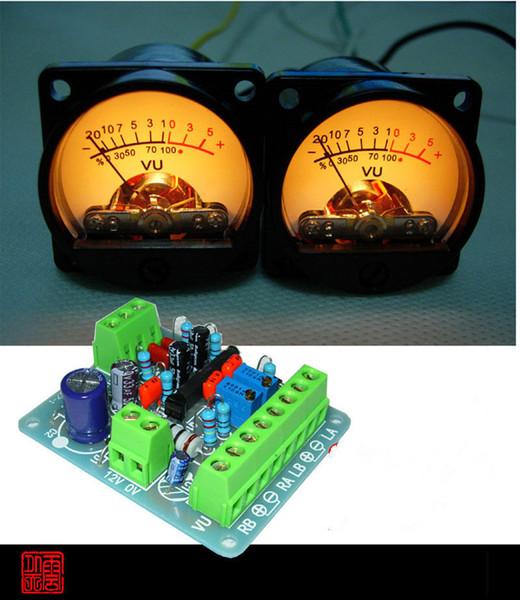 All'ingrosso-2pcs Pannello VU Meter Warm Back Light Audio Level Amp + Una scheda driver