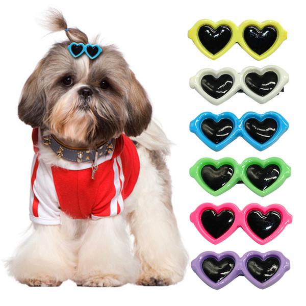 Wholesale 35pcs/lot Cute Sunglass Shape Dog Puppy Hair Clips Kitten Hair Bows Pet Hairpin Grooming Accessories