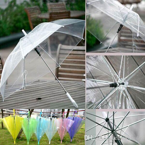 Protección del medio ambiente transparente Paraguas 6 colores PVC sombrilla Paraguas a prueba de agua para sol al aire libre lluvia FedEx DHL