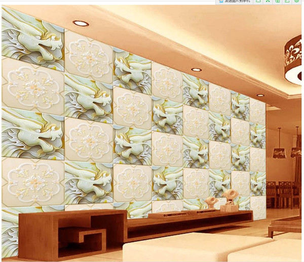 3d wallpaper for room customized wallpaper for walls White marble jade dragon pattern backdrop modern living room wallpapers