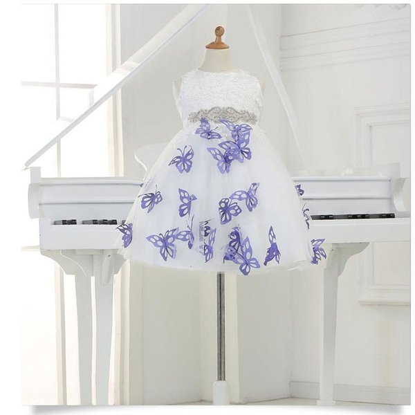 Nette Schmetterlings-elegante Prinzessin Flower Girl Dresses 2016 Sleeveless Ballkleid Tulle Pageant Dresses Erstkommunions-Kleider für Mädchen