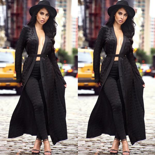 Wholesale- Fashion Two Pieces Black Cape Women Jumpsuit Long Sleeve Sashes Cloak Top Long Pants Hollow Out Ladies Romper