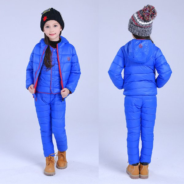 Children Set Boys Girls Clothing Sets Winter 1-7T Down Cotton Jacket + Trousers Waterproof Snow Warm Kids Clothes Suit 2/3pcs