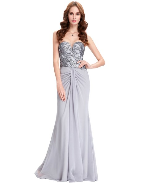 2018 Long Grey Prom Dresses Cheap Sequin Dress Elegant Chiffon Sleeveless Celebrity Party Dress Arabic Robe Mermaid Prom Gowns