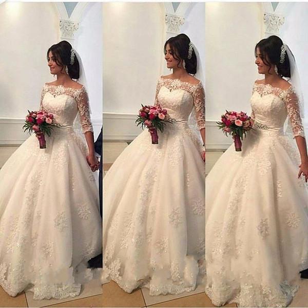 Princess 2016 Full Lace Wedding Dresses Sheer Boat Neck Cap Sleeves Lace Up Long Court Train Bridal Gowns Half Sleeves Vestido De Novia