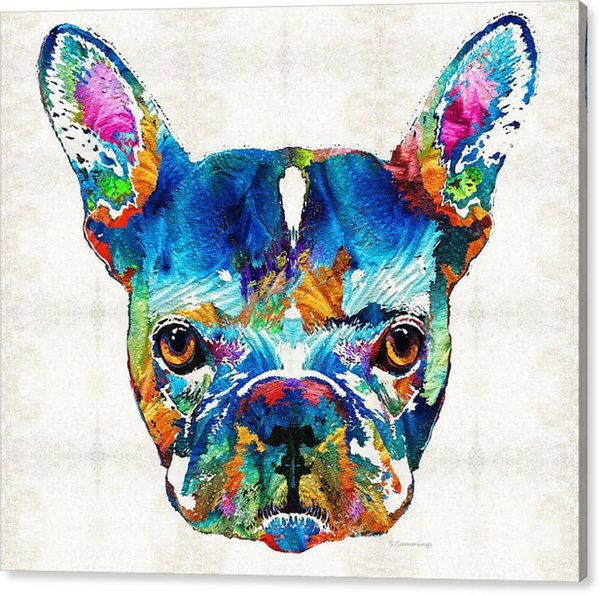 Giclee the urge to merge colorful-french-bulldog-dog-art-by oil painting arts and canvas wall decoration art Oil Painting on Canvas