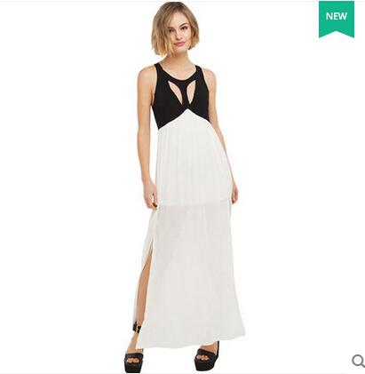 Summer New Fashion Black and White Long Dress Split Patchwork Hollow Out Lace-up Sexy Backless Chiffon Maxi Dress
