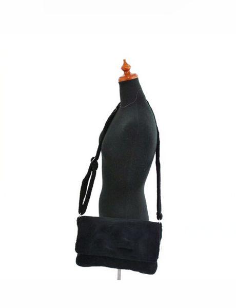 Bodycross bag velvet material Fashion black bag luxury C symbol flannel shoulder bag with Tag VIP Gift