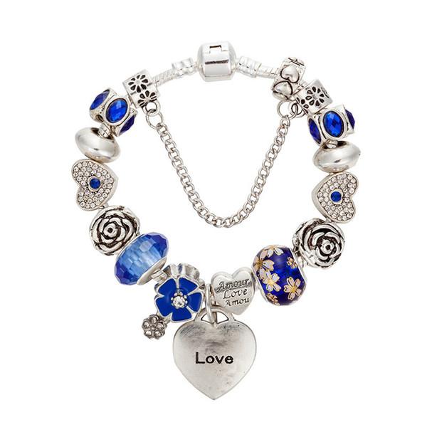 Nouveau Charme Bracelets Argent plaqué Bracelet Pour Les Femmes coeur Bracelet bleu Perles De Chamilia Perles fleur charmes Bricolage Bijoux comme cadeau De Noël