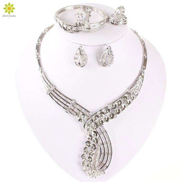 Jewelry Sets Fine African Beads Necklace Bracelet Earrings Rings Set Crystal CZ Diamond Wedding Silver Plated Bridal Accessories