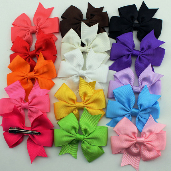 30pcs /Pack Hair Clips Bow Boutique Hair Pin Grosgrain Ribbon Bow Hairpins Diy Hair Accessories For Kids Girl
