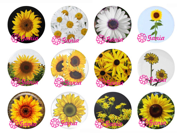 best selling New Arrival 18mm Cabochon Glass Stone Buttons Cabochon Daisy Sunflower Snaps for 18mm Snap Jewelry Bracelet Necklace Ring Earrings