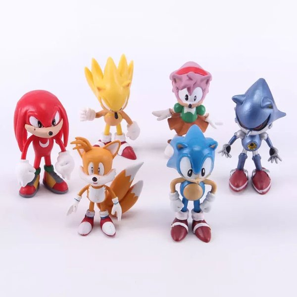 6 pcs Sonic Hedgehog Action Figure Plastic PVC Mini Figure Toys sonic Characters Collectibles Dolls for children kids Chiristmas gift 100110