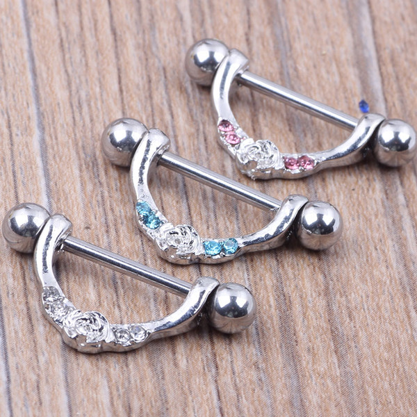 Nipple ring body piercing fashion jewelry 14G 316L surgical steel bar Nickel-free NEW design mix 3 color for woman