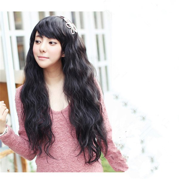 WoodFestival fluffy corn curly wig women girls fiber hair wigs long black brown synthetic wigs heat resistent oblique bangs cheap 3 colors