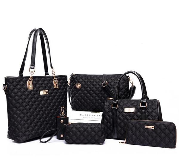6pcs/lot S815 with Women Ms. girl embossed handbags shoulder bags messenger bags purse wallets key cases makeup bags Leisure wild bag
