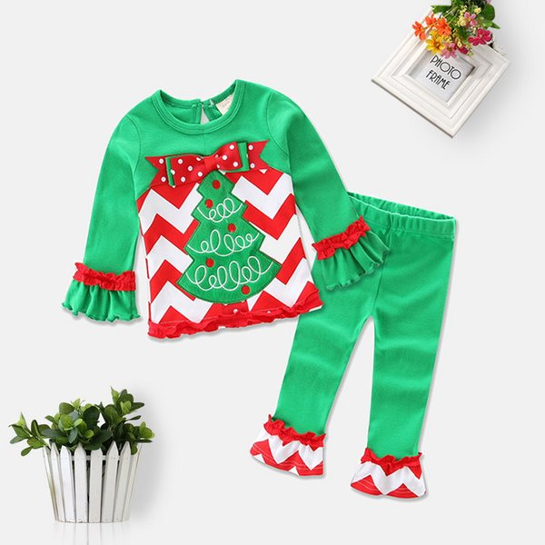 Long Sleeve Baby Girls Xmas Outfits Children Christmas 2pcs Sets Clothes White Sanda Reindeer Tree Dress Striped Ruffle Pants
