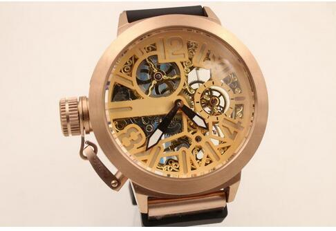 u 1001 skeleton Rose Gold case Automatic Selling brand New Fashion Wristwatches men watch Luxury Stainless steel Men's Watches