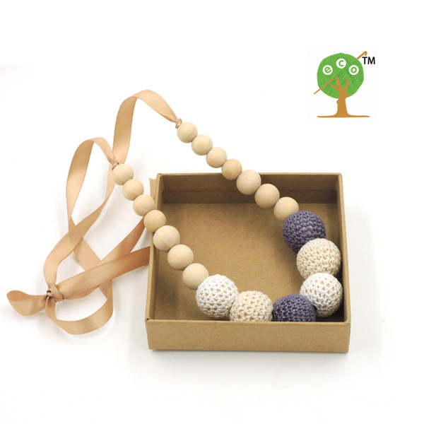 6 pcs/ lot Fade Grey cream white crochet teething necklace,wood beads baby toy baby teether necklace NW1706
