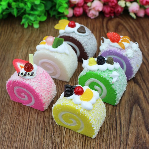 Fruit Cream Swiss Roll Cake Buns Kawaii Squishy Slow Rising Bread Phone Strap Charm Pendant Scented Squishes Cute Toys