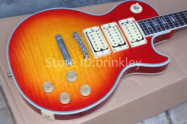 Brinkley shop custom highest quality Ace frehley signature 3 pickups Electric Guitar,Cherry red guitar,free shipping